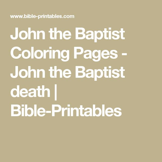 John the Baptist Coloring Pages - John the Baptist death | Bible-Printables