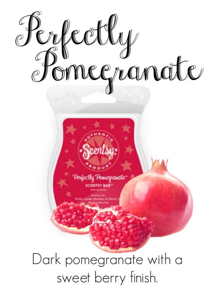 Perfectly Pomegranate Scentsy Bar. Scentsy - We Make Perfect scents! With each Scentsy bar you can mix and match and make your own favorite scent. Be creative! Here is a few that I think you may enjoy. Scentsy Fragrances flameless wax warmers are a great alternative to candles the perfect gift idea! Scentsy website: https://jen4scents.scentsy.us