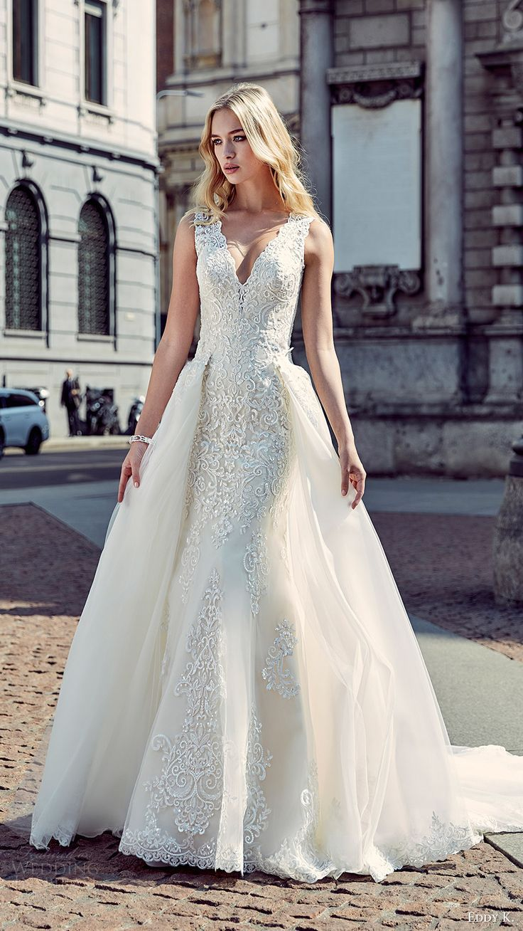 eddy k milano bridal 2017 sleeveless vneck sheath lace wedding dress ball gown (md199) mv overskirt train