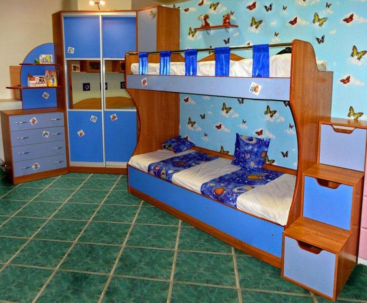 http://taizh.com/wp-content/uploads/2014/12/amusing-blue-bunk-bed-design-with-butterfly-wallpaper-as-well-wardrobe-corner-beside-drawer-desk-also-green-tile-floor.jpg