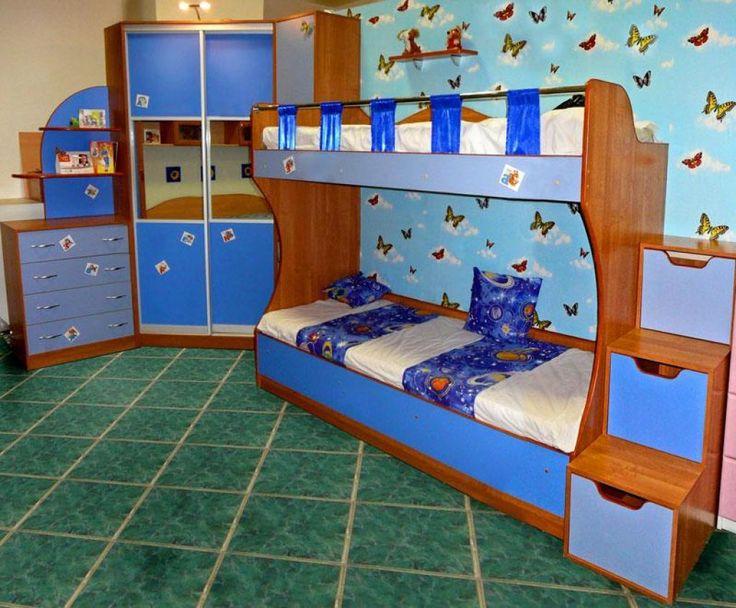 http://taizh.com/wp-content/uploads/2014/12/amusing-blue-bunk-bed-design-with-butterfly-wallpaper-as-well-wardrobe-corner-beside-drawer-desk-also-green-tile-floor.jpg