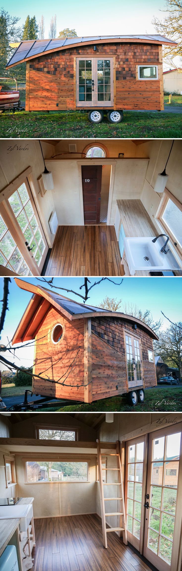 The latest work of art from Zyl Vardos is the Mura, an 18-foot tiny house built for one of Abel Zyl's friends, Jenn Bruyer. As with each Zyl Vardos tiny house, the Mura has a creative design that looks like it belongs in a fairytale.