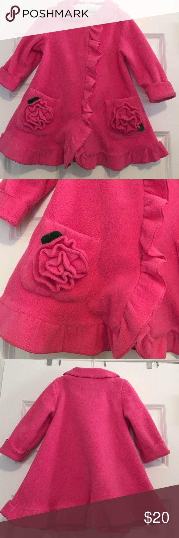 Pink Fleece Dressy Jacket Like new adorable Bonnie Baby pink fleece dressy jacket with hidden snap closure under ruffle detail, 2 patch pockets with large fleece flowers, collar and ruffle hem. Size 18mos. Bonnie Baby Jackets & Coats