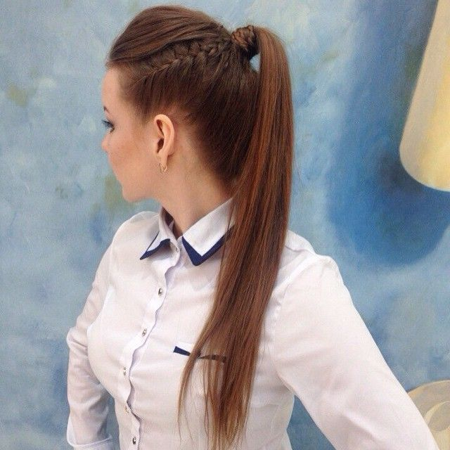 Side braid with pouf ponytail