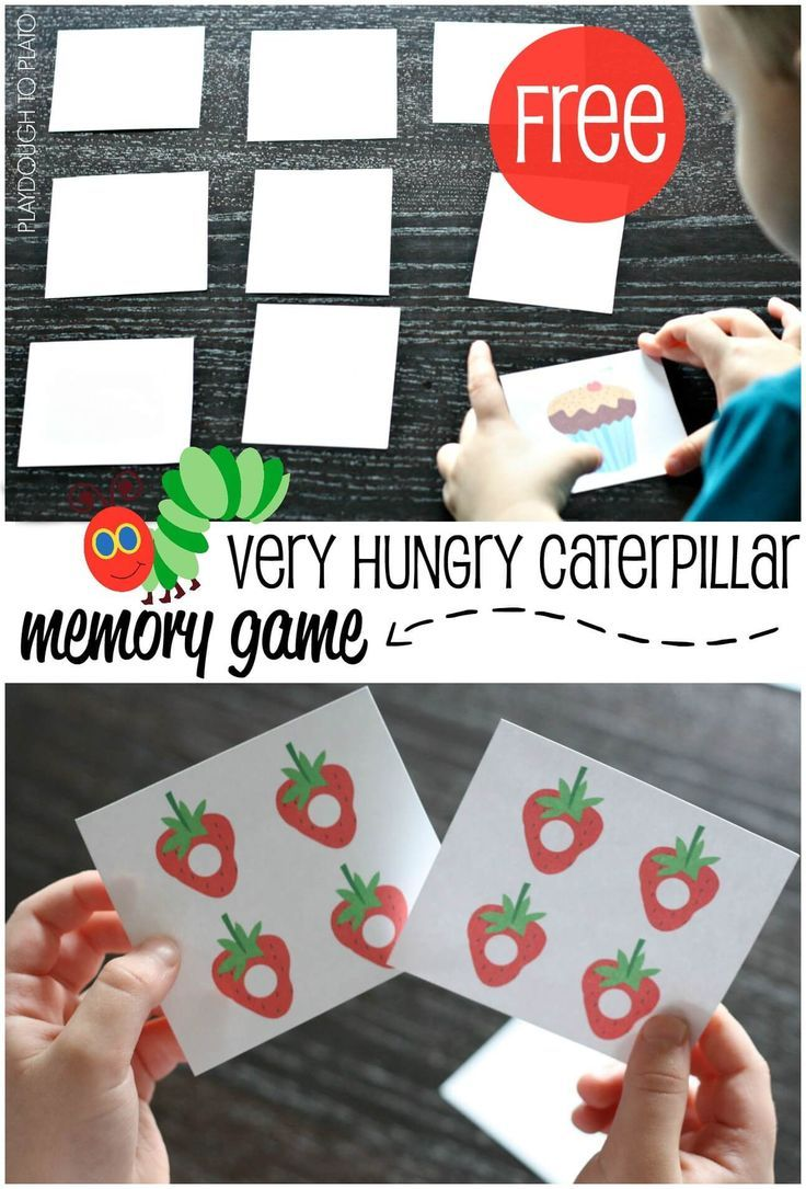 FREE Very Hungry Caterpillar Memory Game for toddlers and preschool kids this spring! #hungrycaterpillar #preschool #toddlers #memorygames #playdoughtoplato
