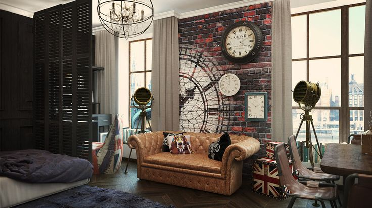 apartment design with brick wall