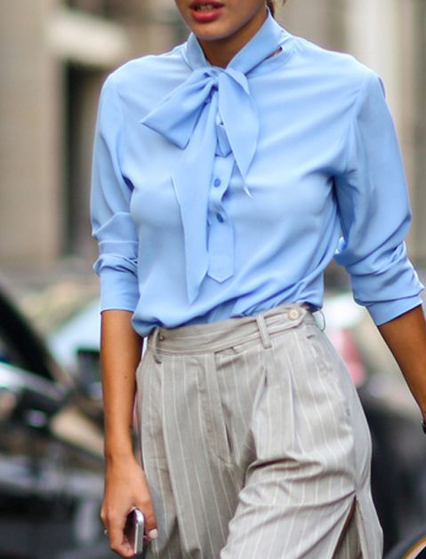 """""""bow tie blouse"""" The 10 Fashion Pieces to Buy This Fall via @PureWow"""