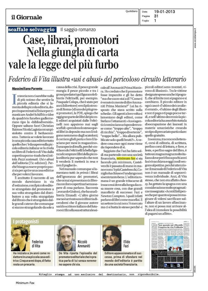 """Massimiliano Parente recenscisce la seconda edizione di """"Pazzi scatenati"""" sul «Giornale» di sabato 19 gennaio 2013."""