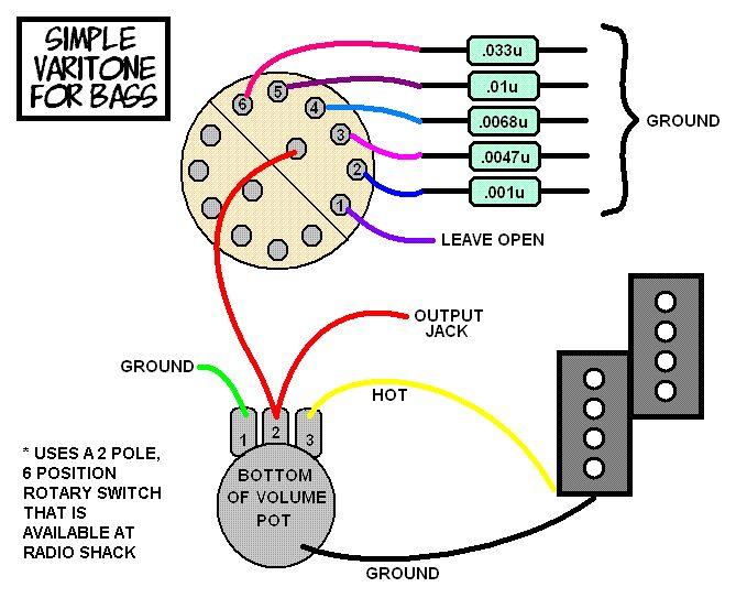 a simple varitone circuit for your bass bass guitar mods guitar diy guitar pedals guitar amp. Black Bedroom Furniture Sets. Home Design Ideas