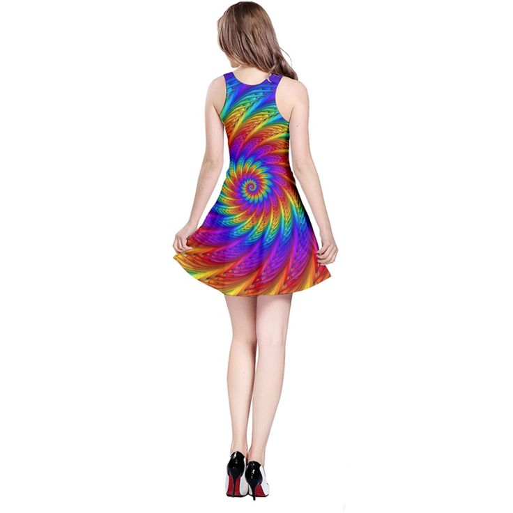 Psychedelic+Rainbow+Spiral+Reversible+Sleeveless+Dress