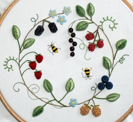 Stumpwork Embroidery Tutorial | ... version of my fruit wreath. The original fruit wreath was stumpwork