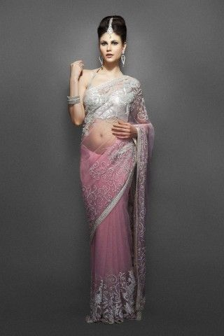 Soft Pink Net Sari with Silver border & jaal