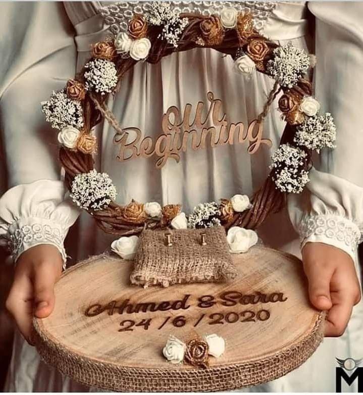 طارة خشب وتطريز للخطوبة والشبكة وكتب الكتاب Wedding Ring Pillow Diy Diy Wedding Decorations Wedding Gifts Packaging