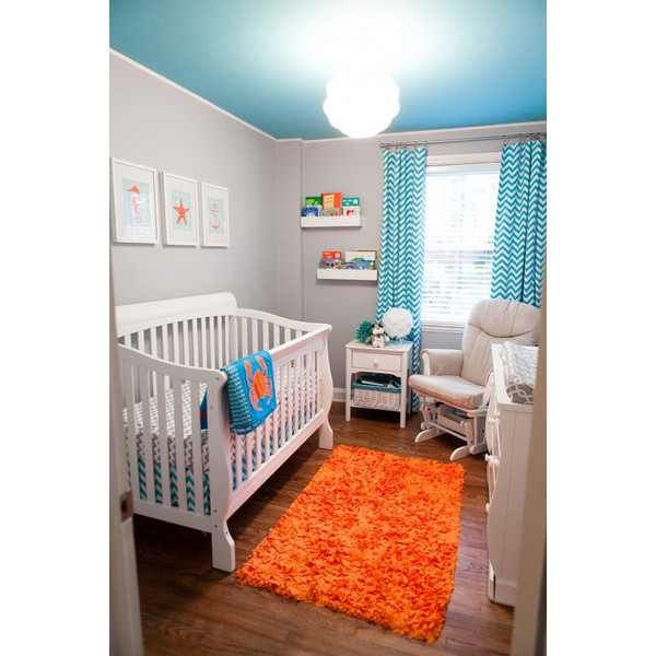 Baby Boy Nursery- LOVE The Blue Ceiling And The Orange KTM