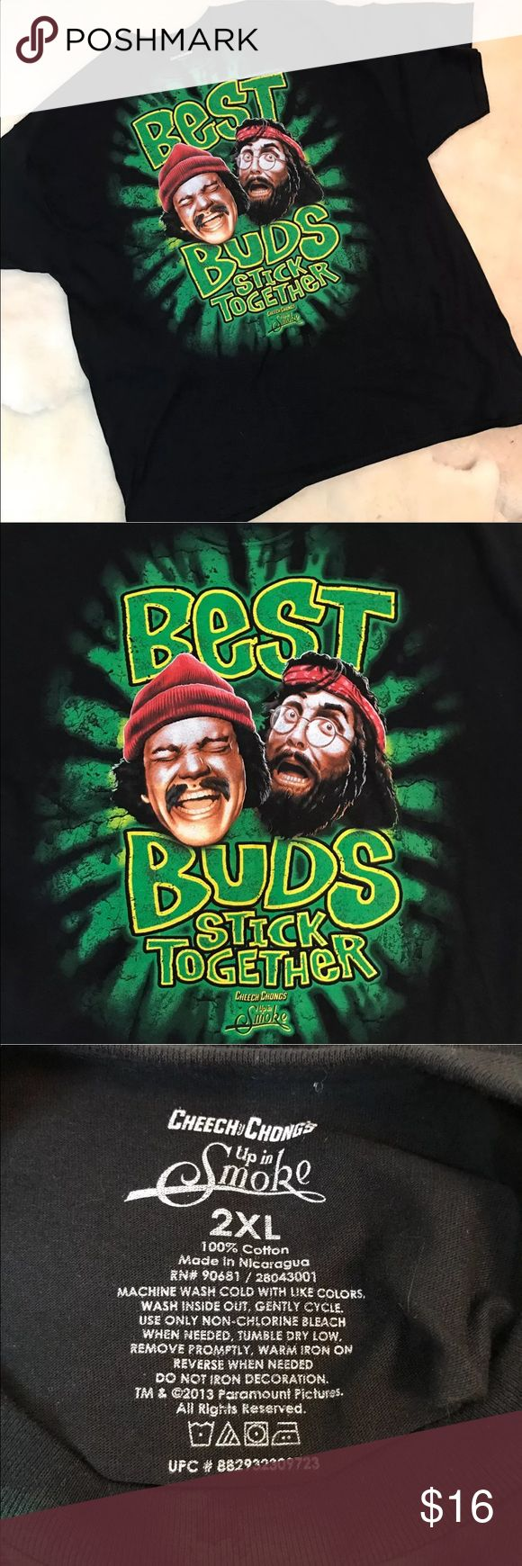 """CHEECH AND CHONG UP IN SMOKE 2X T-SHIRT CHEECH AND CHONG UP IN SMOKE """"BEST BUDS STICK TOGETHER"""" 2X BLACK 100% T-SHIRT.   NEW WITHOUT TAGS!   Approximate measurements laying flat   Collar to shoulder 10.5""""  Shoulder to end of sleeve 8.75"""" Across chest pit to pit 27"""" Length of collar to hem 33.5""""  Please see photos as we do consider them to be a part of the description. Shirts Tees - Short Sleeve"""