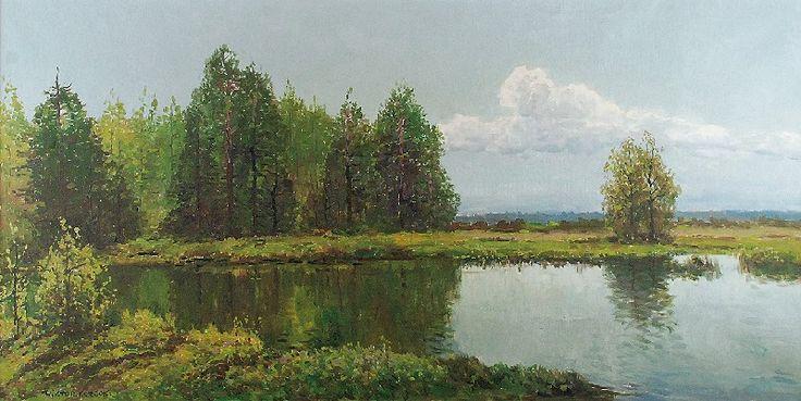 Wiktor KORECKI (1890-1980)  Pejzaż z jeziorem na skraju lasu olej, płótno; 60 x 120 cm;