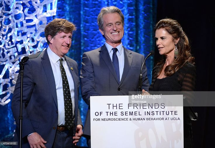 Bobby Shriver (C) and Maria Shriver (R) honor Patrick J. Kennedy at UCLA's The Friends Of The Semel Institute Great Minds Gala at the Beverly Wilshire Four Seasons Hotel on April 19, 2015 in Beverly Hills, California.