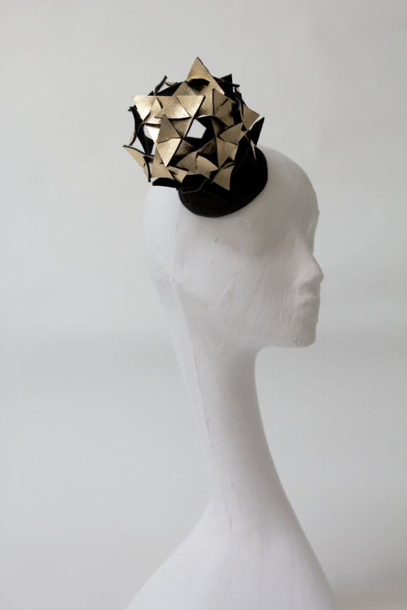 Gold metallic leather headpiece, lady gaga, cosmic, triangles, origami, ascot, the races.