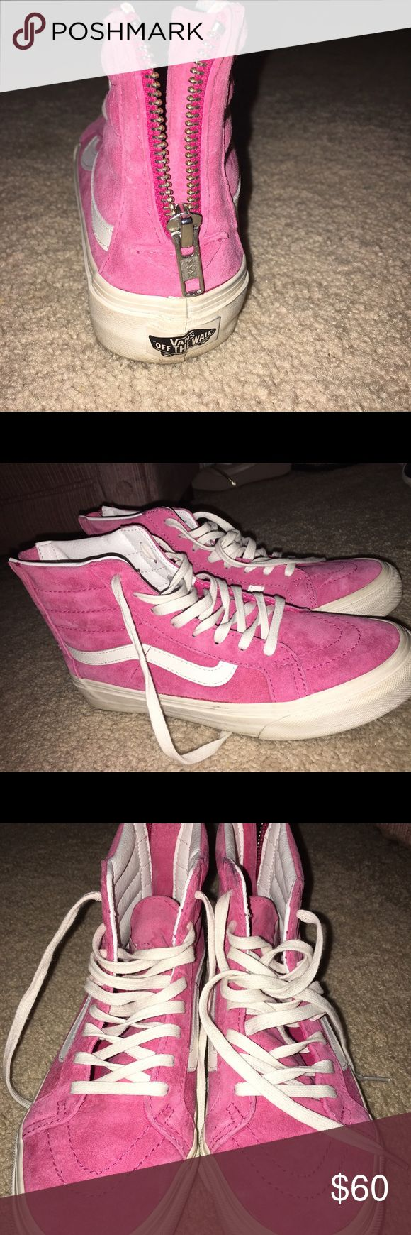 Pink Suede Skate high Vans Worn only twice , so brand new ! Zip up on the back Vans Shoes Sneakers