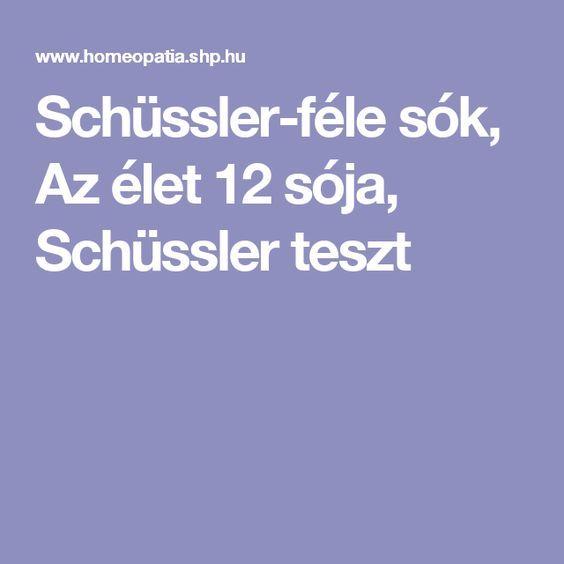 Schüssler-féle sók, Az élet 12 sója, Schüssler teszt