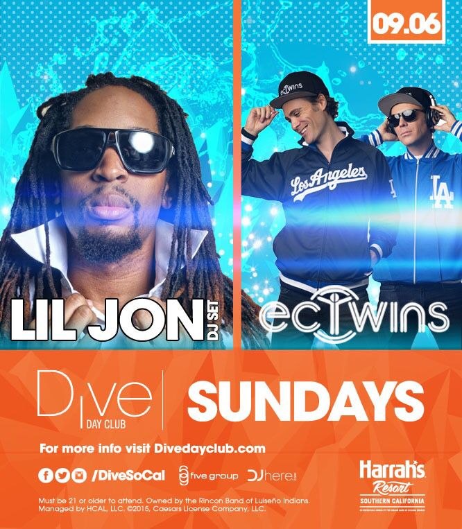 "EC TWINS Lil Jon Dive Day Club Harrahs Pool Party San Diego Buses Tickets Promo Code Discount T Pain Dive Day Club Harrahs Pool Party San Diego Buses Tickets Promo Code Discounts  Promo code ""Nocturnalsd"" https://www.dayclubtickets.com/affiliate/nocturnal1 #ashleywallbridge #divepromocode #divepoolparty #LilJon #divepartybus #discount #harrahsdivedayclub #Liljohn #ashleywallbridgedivedayclub #cabana #daybed #hotel #casino #guestlist #discount #partybus #ticketsdiscountpromocode #sandiego…"