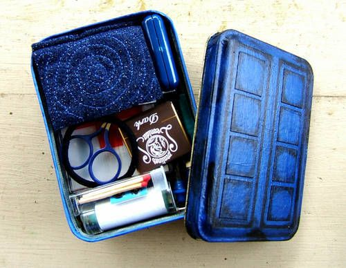 """doctor who companion survival kit made for a craft swap - super ideas and the tin is so cute. The swapper even put together a Dr. Who coloring book (the pdf file is avaliable online!) to go with the crayons she included with her swap partners children. Or maybe for her swap partner, you never know. ;D The swappers signature reads: """"I need a Sonic Seam Ripper."""" I agree with that sentiment."""