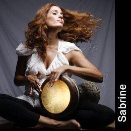 Sabrine el Hossamy performing on the darbuka hand drum...