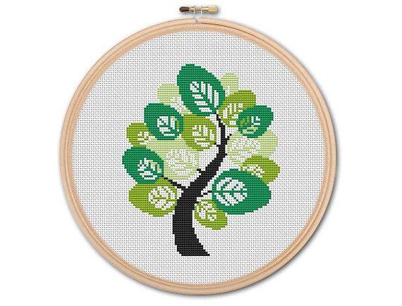 Spring tree , Counted Cross stitch, Pattern PDF, Cross Stitch Chart , Cute Cross Stitch, Cross stitch pattern, pixel art, 0205