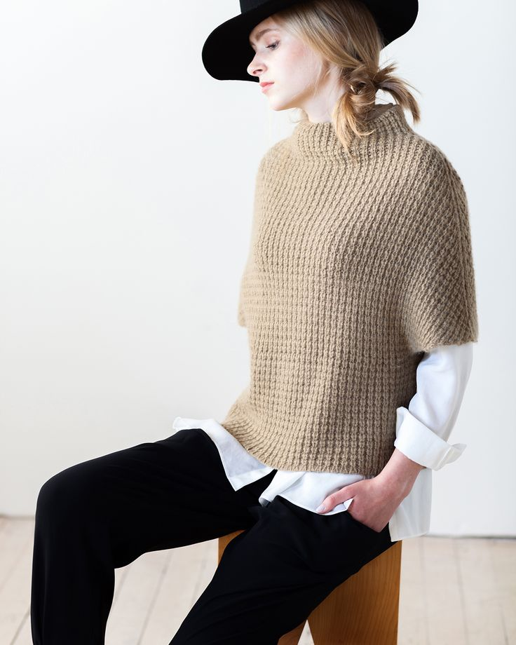 Simple geometry and a unique textural stitch in Får create a modern way to wear a vest. Knit bottom up in a single piece, finishing is minimal; bind off, block, and wear. BY OLGA BURAYA-KEFELIAN
