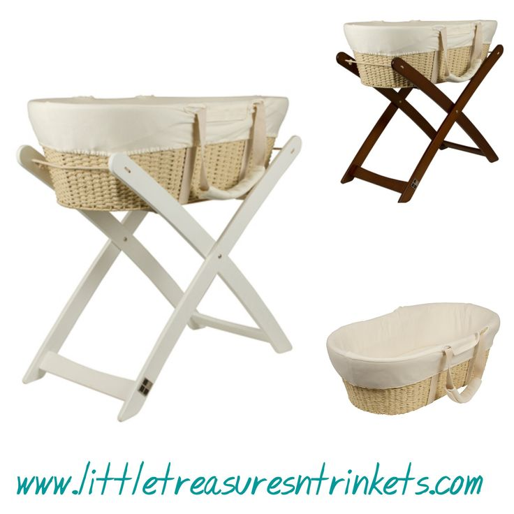 Bebe Moses Basket Optional Stand Stand comes in walnut or white Bebe Moses Basket Optional Stand is available by itself in with a stand available in walnut or whiteThe bebe care Moses Basket is a unique and luxurious baby basket that will compliment