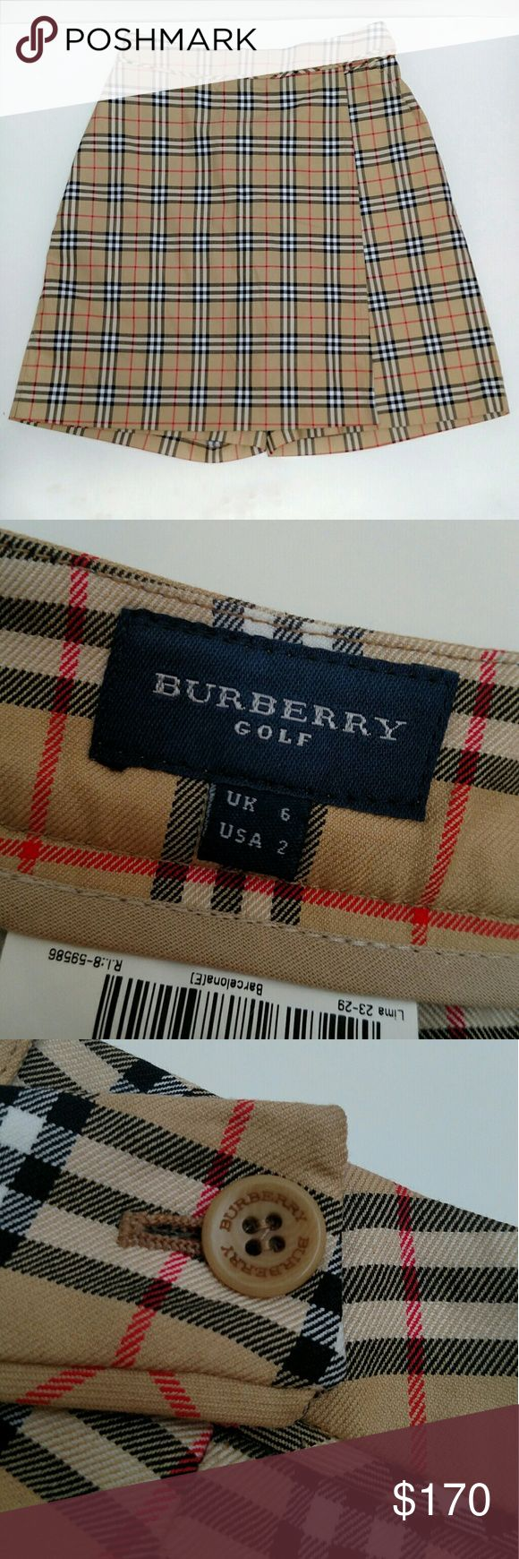 Authentic Burberry Golf Skort This Burberry golf skort features the classic plaid print throughout. It has a pocket on the back, an exposed button closure on the side of the skirt, and a hidden zip closure for the shorts. They are in amazing condition!! Burberry Skirts