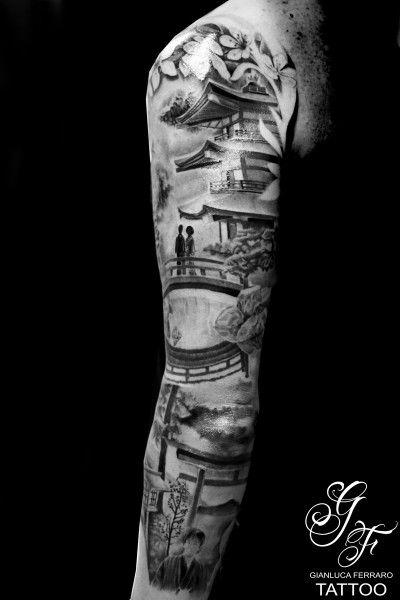 Tatuaggio avambraccio, bianco e nero, braccio, disegni, donna, farfalle, fiori, geisha, giapponesi, new school, personaggio, realistici, ritratti, samurai realizzato dal tatuatore Gianluca Ferraro Tattoo - Gianluca Ferraro Tattoo