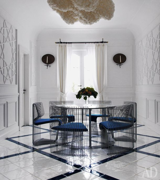 Modern dining room , antique trim