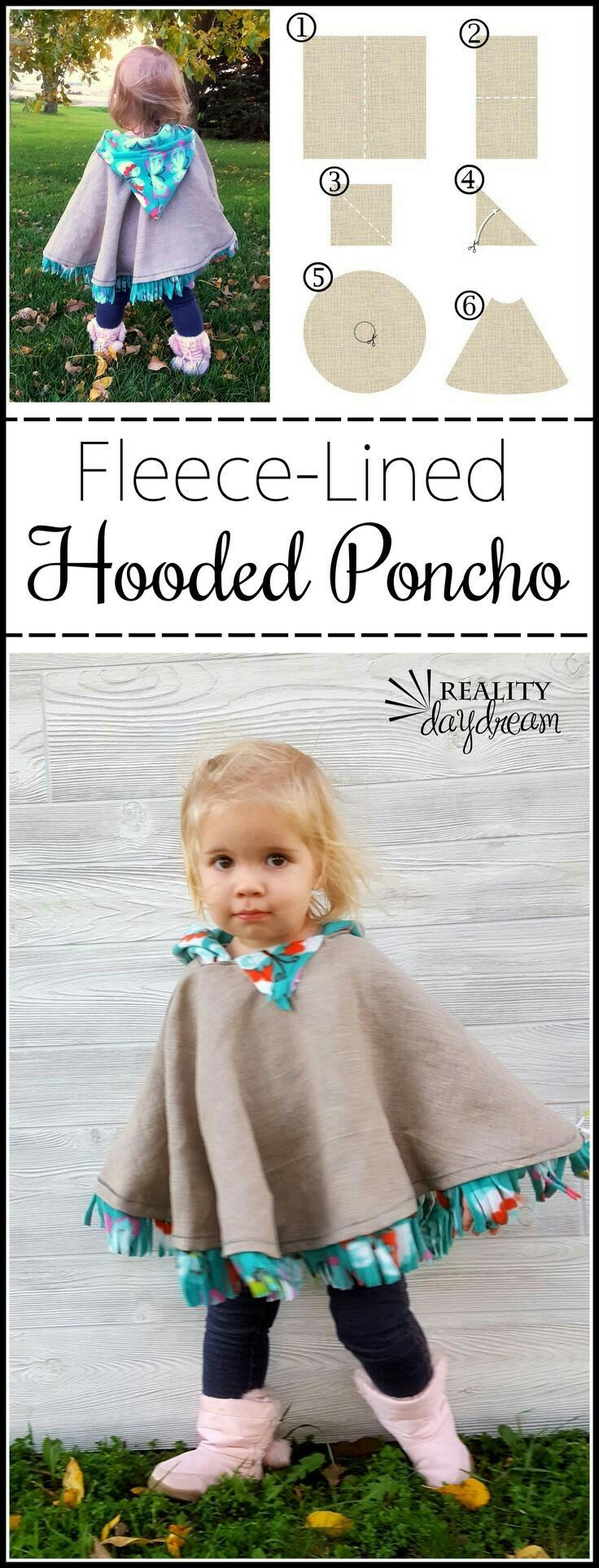 fleece-lined hooded poncho