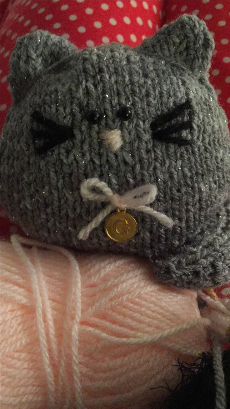 Knitted cat! G for Gizmo!
