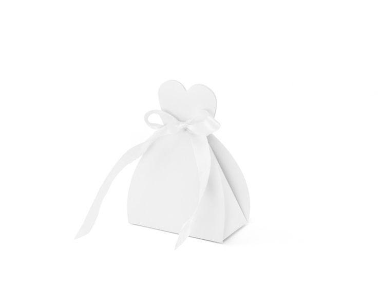 Scatola Portaconfetti Sposa, confezione da 10 Originali scatole con vestito da sposa per contenere i confetti delle tue nozze. Misure: h 10 cm.  Capienza: 3/4 confetti classici. -    Scatola a forma di abito da sposa realizzata in carta bianca con un fiocchetto in   raso.       Ideale come segnatavolo o regalo per i tuoi ospiti.       Ogni confezione contiene 10 pezzi.       Misure: 6.5x3x5 cm      Capienza: 3/4 confetti classici.            Abbellimenti e confetti non inclusi.   - Home pa