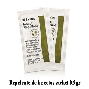 #Insumos_Primeros_Auxilios #Botiquines #Unguentos #Cremas  Repelente de Insectos sachets 0.9gr  Con el aumento de la amenaza de las enfermedades transmitidas por mosquitos como el virus del Nilo Occidental, Dengue, etc..  se ha formulado un repelente de insectos libre de DEET. La fórmula libre de pesticidas contiene repelentes a base de plantas naturales de aceite de soja y aceite de citronela por lo que es seguro para su uso en niños y adultos.