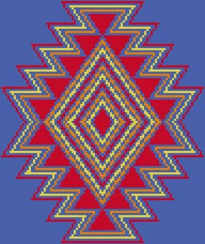 Southwest - cross stitch pattern designed by Susan Saltzgiver. Category: Native.