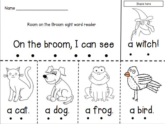 Room on the Broom emergent reader — cute for a Halloween fluency activity!