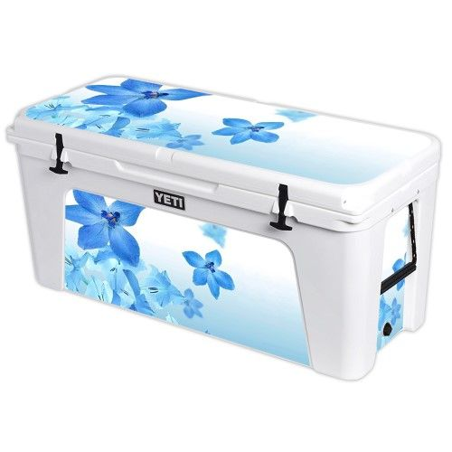 Skin Decal Wrap for Yeti Tundra 160 qt Cooler cover sticker Blue Flowers