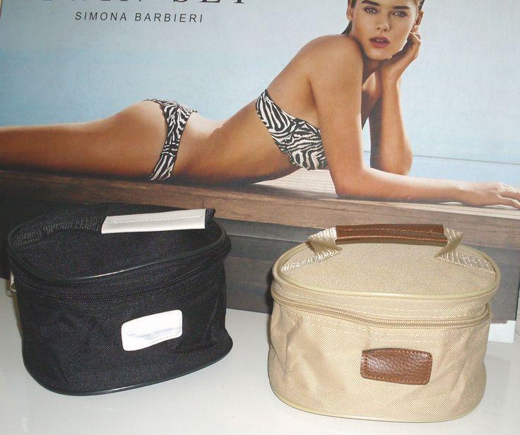 Beauty case borsa da viaggio toilette in morbido poliestere nero beige Offerta