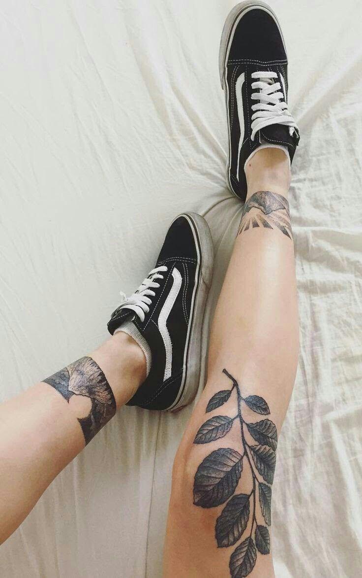 Leaves Knee Tattoo Tattoos Leg Tattoos
