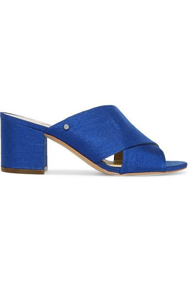 Heel measures approximately 45mm/ 2 inches Cobalt slub satin Slip on Designer color: Nautical Blue