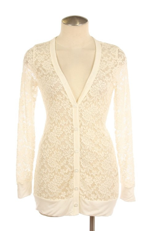 Ivory Sheer Floral Lace Cardigan $25.50 @ Grace's Boutique