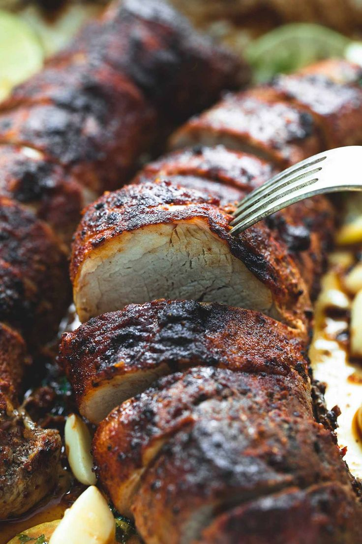 Crispy on the outside, juicy and tender on the inside, and amazing flavors make this the BEST baked pork tenderloin! No marinade or searing needed!