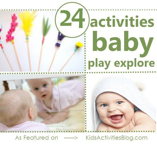 Development of Play: 24 Ways to Explore with your Baby from @Holly Elkins Elkins Homer. Here, you can find, some great activities for baby using mirrors, building blocks, brushes, bath time and much more!