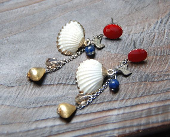 white shell crystal gold metal earring. dangle by bijouroom, $33.00