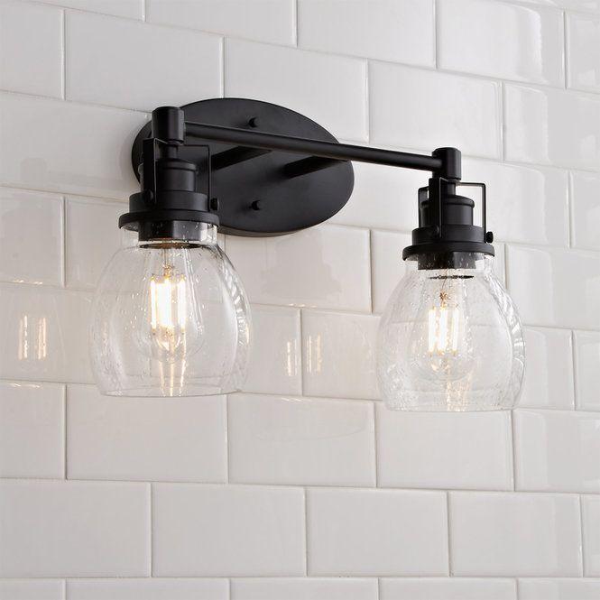 Soft Seeded Vanity Light 2 Light Rustic Bathroom Lighting Bathroom Light Fixtures Bathroom Lighting