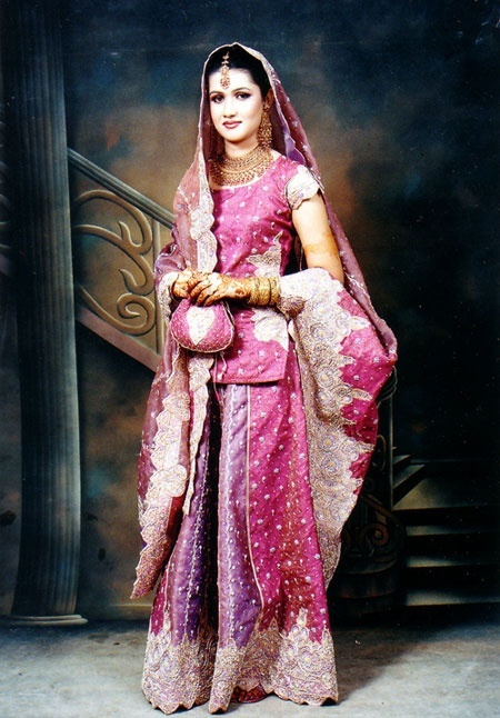 Image Detail For Traditional Indian Wedding Dress In Fuchsia Heavily Embroidered And
