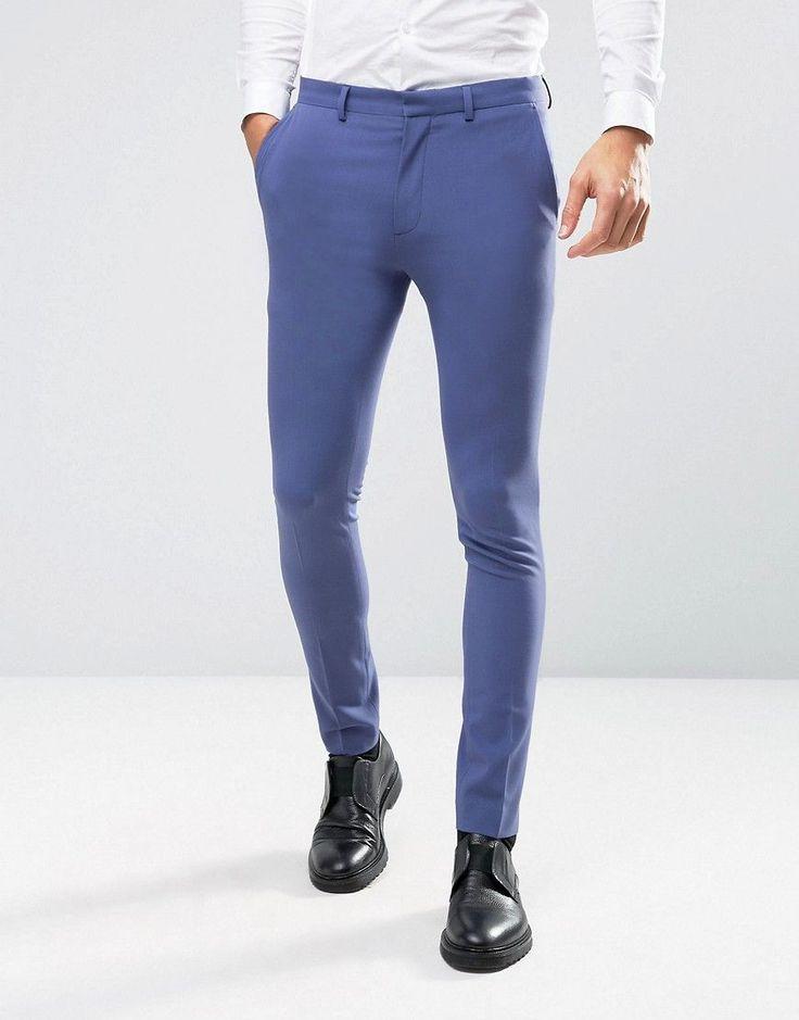 ASOS WEDDING Super Skinny Suit Pants In Deep Blue - Blue